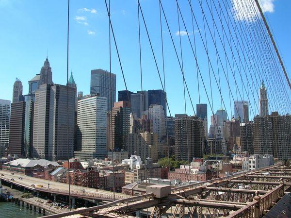 Skyline New York, Amerika gezien vanaf Brooklyn Bridge