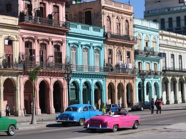 Felgekleurde huizen en oldtimers in een straat in Havanna, Cuba.