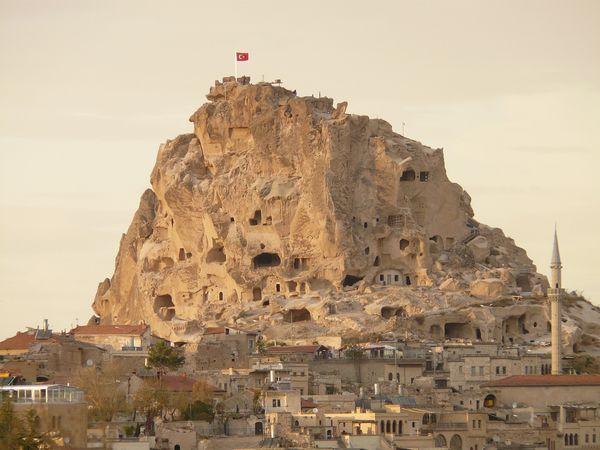 Het Uchisar kasteel in Cappadocië, Tuirkije.