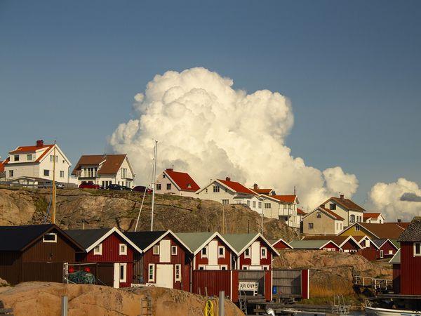 Boothuizen in de Bohuslän regio aan de westkust van Zweden.