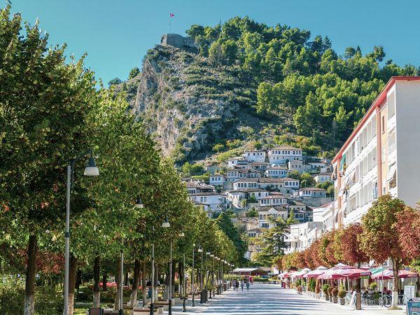 De oude stad Beret in Albanië